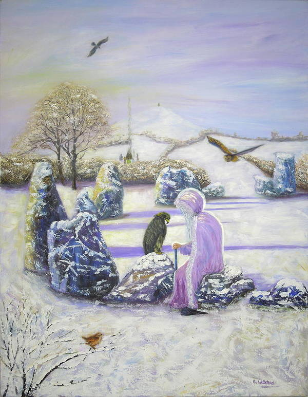Fine Art Poster featuring the painting Mother Of Air Goddess Danu - Winter Solstice by Shirley Wellstead