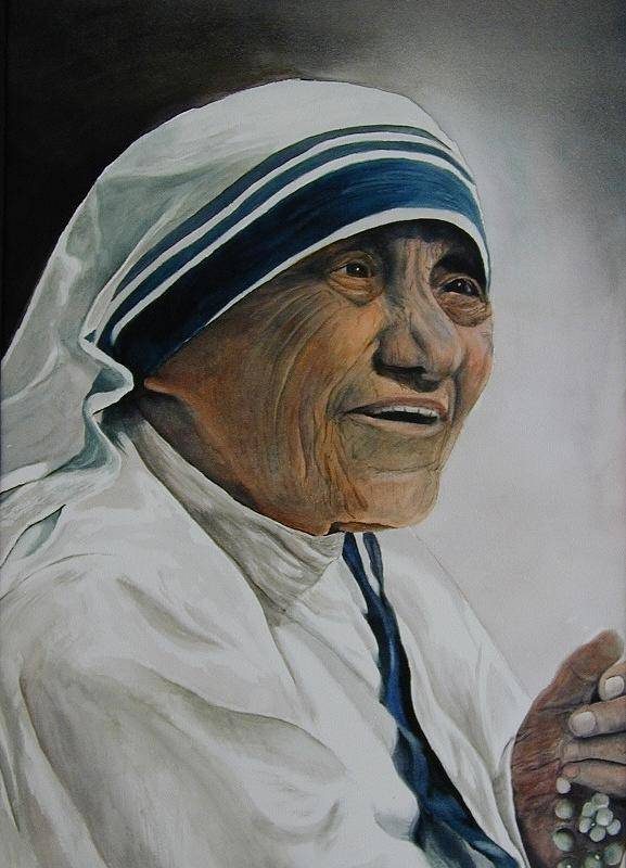 Lady Poster featuring the painting Mother Teresa by Dwight Williams