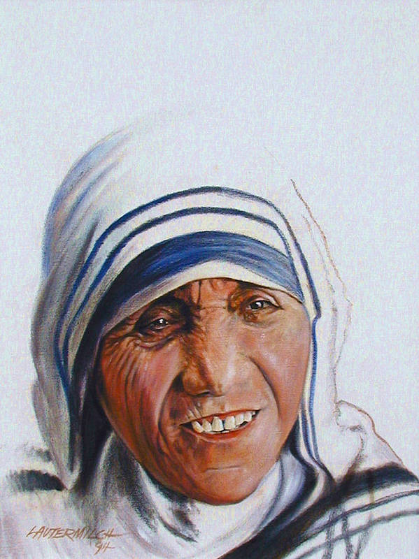 Mother Teresa Poster featuring the painting Mother Teresa by John Lautermilch