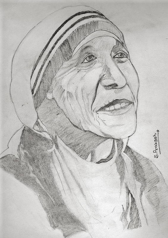 Indian Poster featuring the drawing Mother Teresa by SP Singh