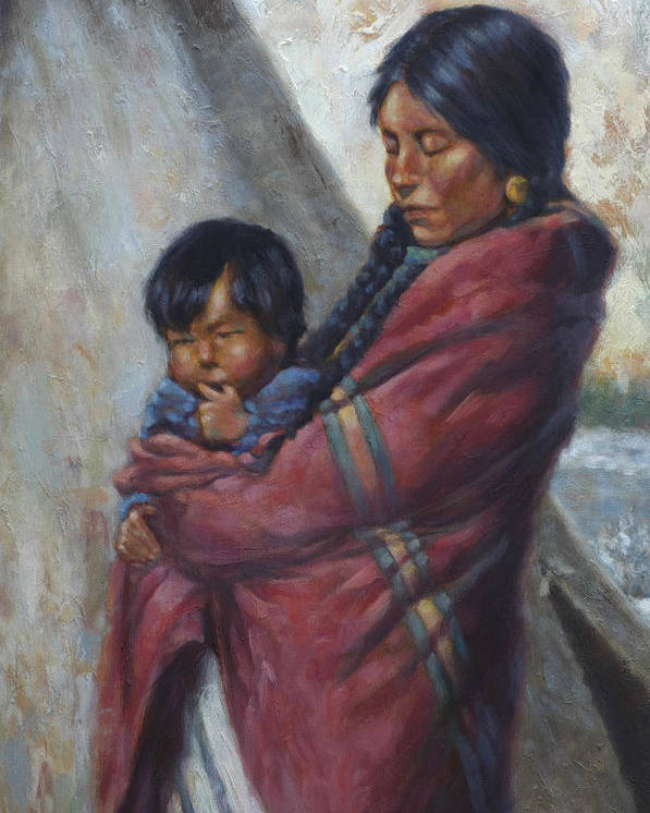 Native American Poster featuring the painting Motherhood by Harvie Brown