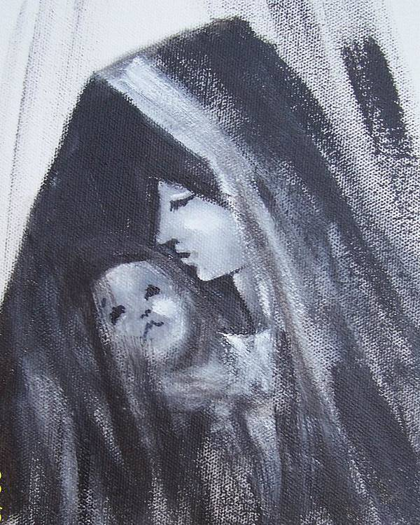 Painted Scetch Poster featuring the painting Motherly Love by Martha Mullins