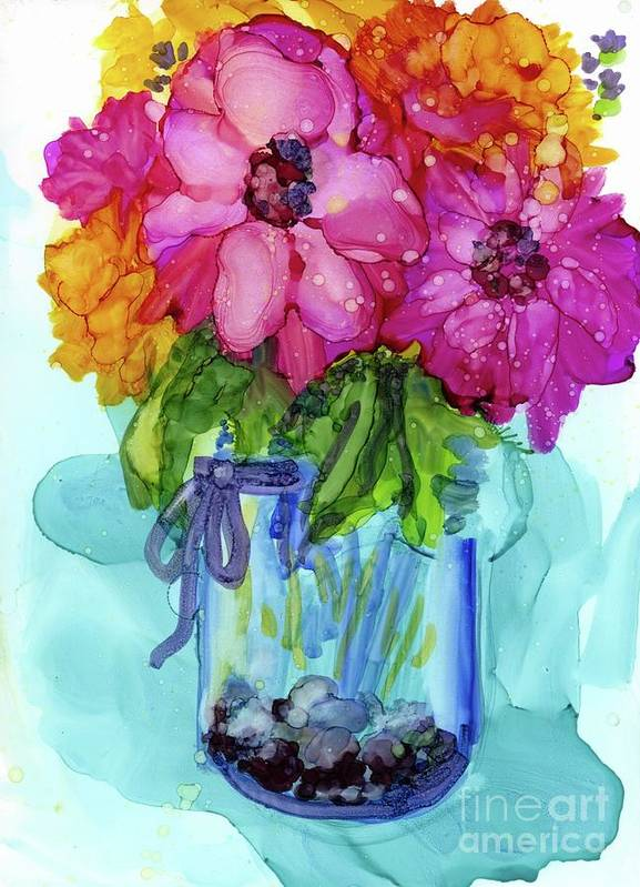 Flowers Poster featuring the mixed media Mother's Bouquet by Francine Dufour Jones
