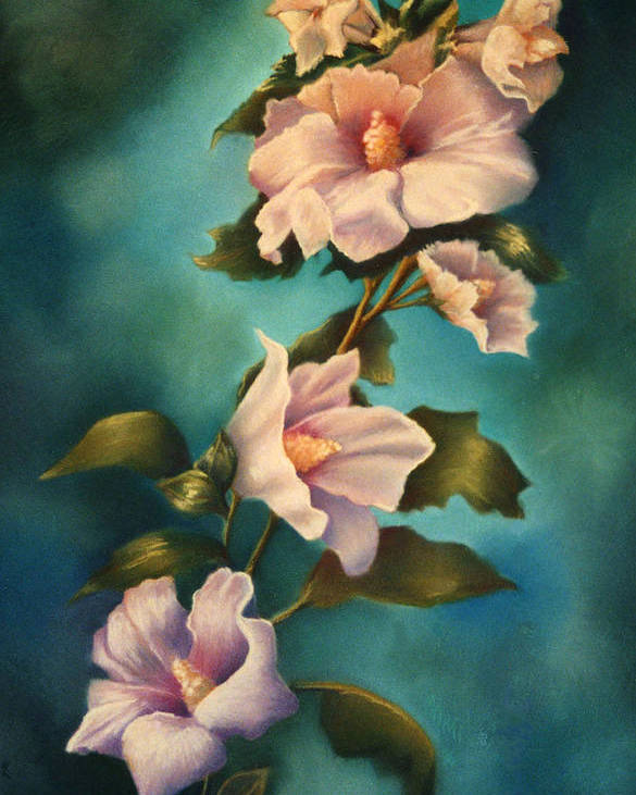 Rose Pink Althea Pastel Painting Floral Flower Poster featuring the painting Mothers Rose Of Sharon by Marti Bailey