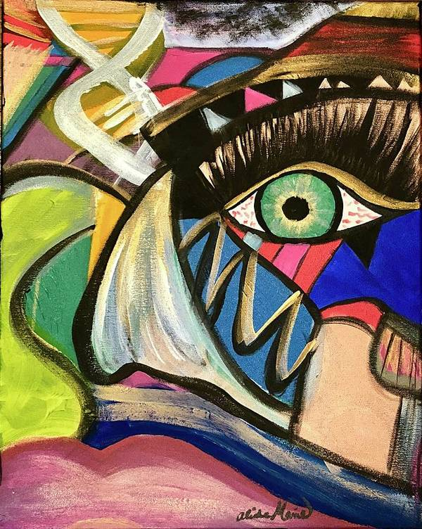 Abstract Poster featuring the painting Motley Eye 3 by Alisha Anglin