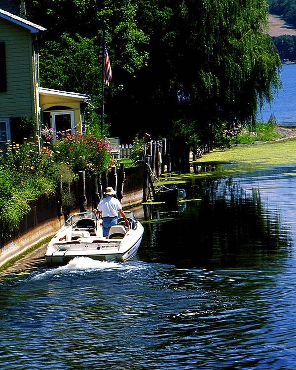 Seneca Lake Poster featuring the photograph Motor Boat On Canal by Roger Soule