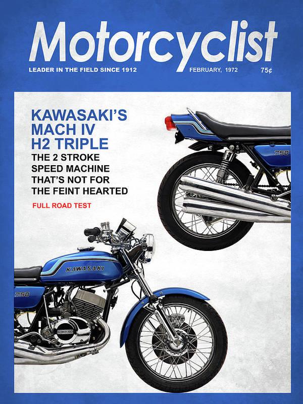 Motorcycle Magazine Kawasaki H2 1972 Poster