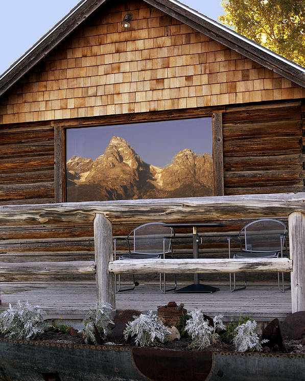 Late Snow Poster featuring the photograph Moulton Ranch Cabin Reflection Grand Tetons by Gary Langley