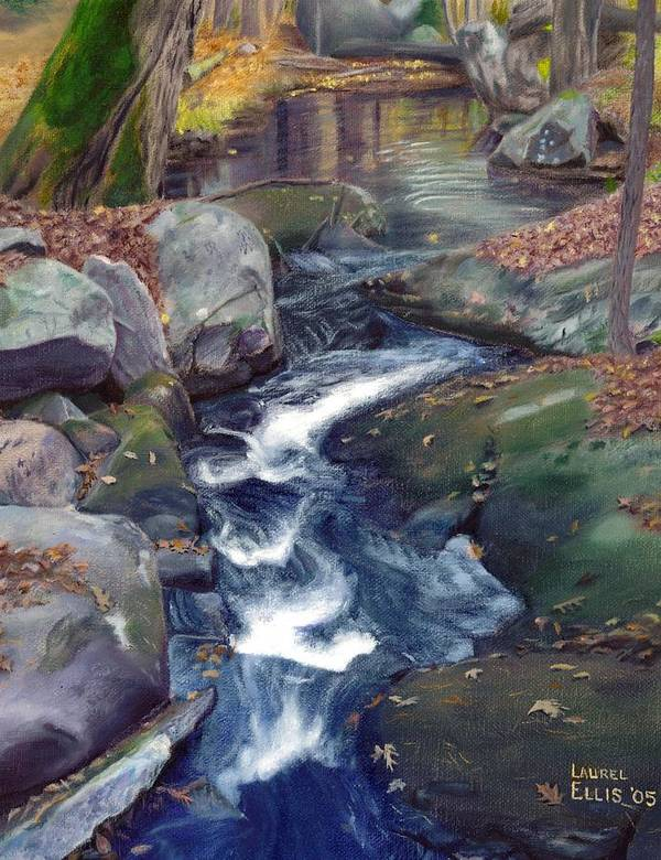 Landscape Poster featuring the painting Mountain Brook IV by Laurel Ellis