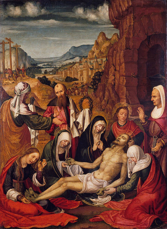 Paolo Da San Leocadio Poster featuring the painting Mourning Over The Dead Body Of Christ by Paolo da San Leocadio