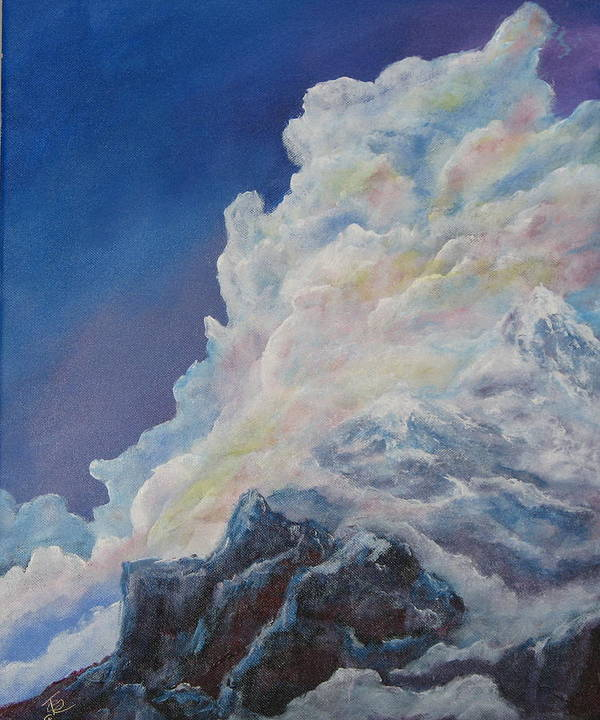 Landscape Poster featuring the painting Moutain In The Clouds by Thomas Restifo