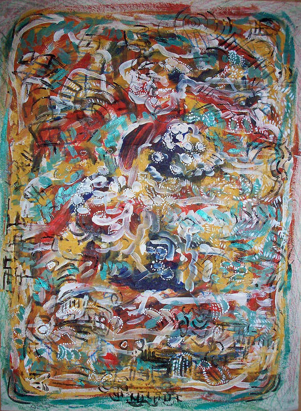 Abstract Poster featuring the painting Movements In Love by Helene Champaloux-Saraswati
