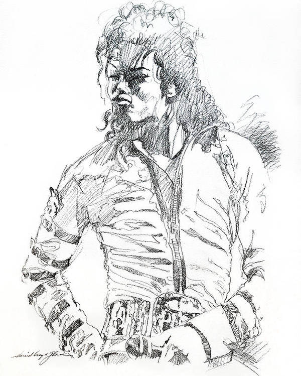 Michael Jackson Poster featuring the drawing Mr. Jackson by David Lloyd Glover