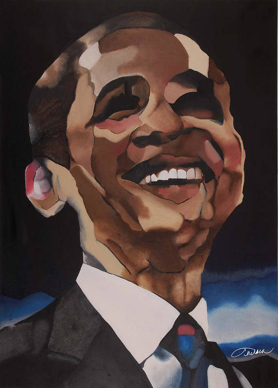 44th President Poster featuring the painting Mr. Obama by Chelsea VanHook