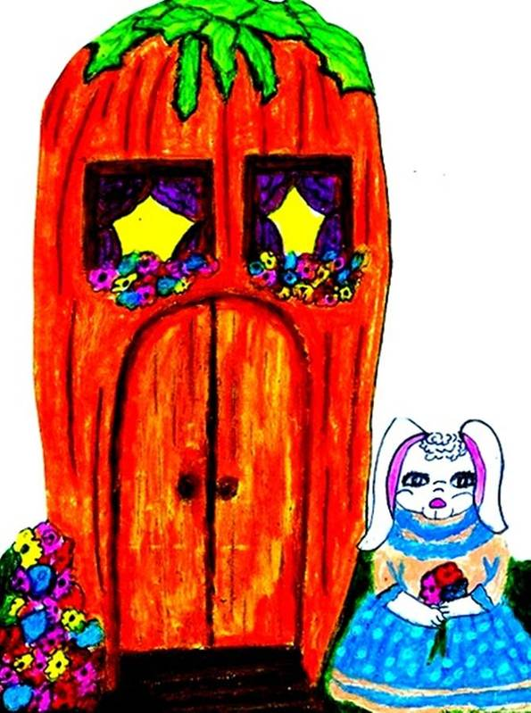 Rabbit Poster featuring the pastel Ms. Bunny's Carrot House by Jo-Ann Hayden