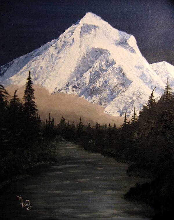 Landscape Poster featuring the painting Mt Hood by Mark Farr