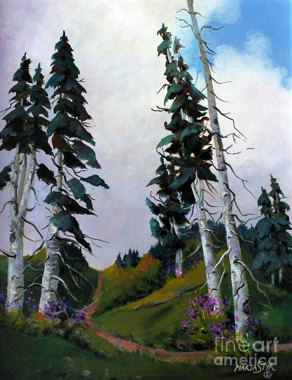 Mountains Poster featuring the painting Mt. Rainier 3 by Marta Styk