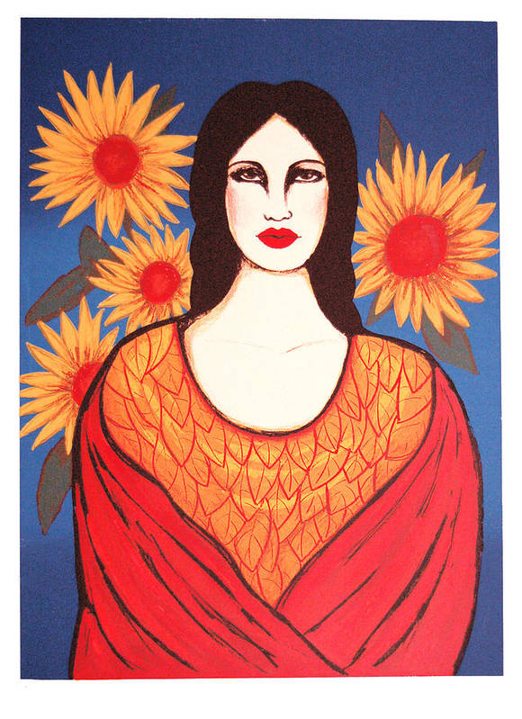 Laura Lopez Cano Poster featuring the print Mujer Con Flores by Laura Lopez Cano