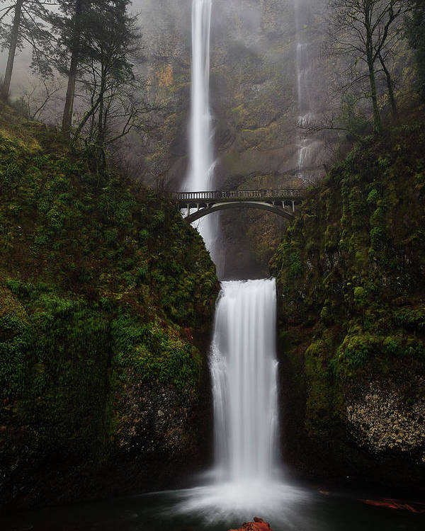 Vertical Poster featuring the photograph Multnomah Fall by Helminadia