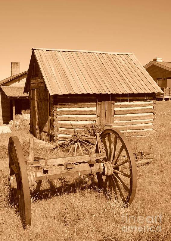 Sepia Poster featuring the photograph Murdock Carriage House - Circa 1800's by Dennis Hammer