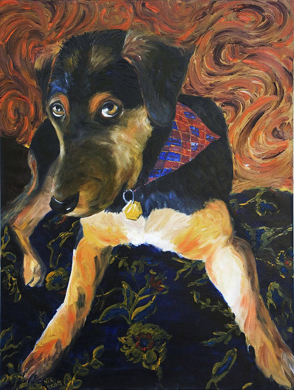 Dog Poster featuring the painting Murphy I by Nik Helbig
