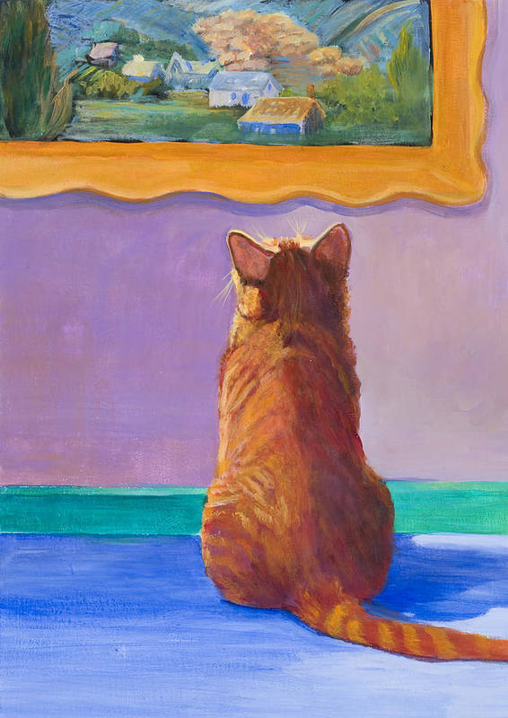 Animal Poster featuring the painting Museum Cat 2 by Jimmie Trotter