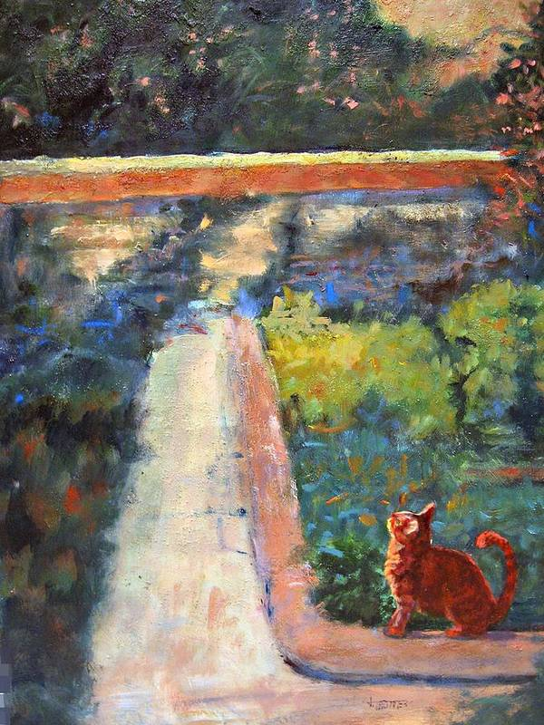 Animal Poster featuring the painting Museum Cat Enters The Picture After Georges Seurat by Jimmie Trotter