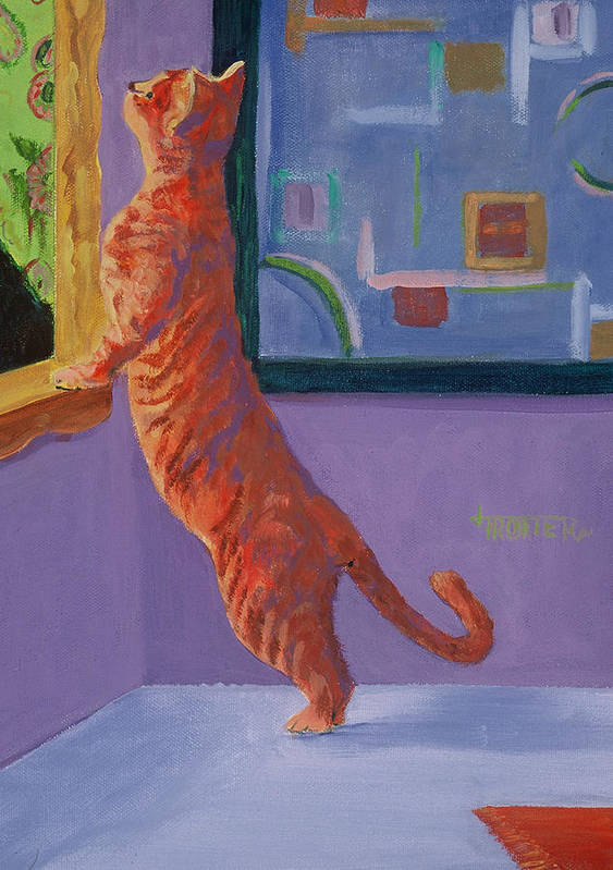 Animal Poster featuring the painting Museum Cat by Jimmie Trotter
