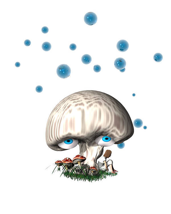 Blue Poster featuring the digital art Mushroom Dreams by Carol and Mike Werner