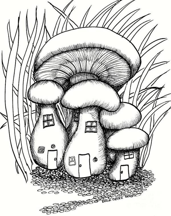 #dawndboyer Poster featuring the drawing Mushroom Fairy Houses And Grass by Dawn Boyer