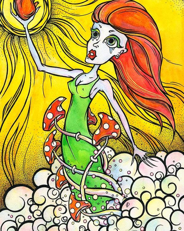 Woman Poster featuring the painting Mushroom Heart by Darya Lavinskaya