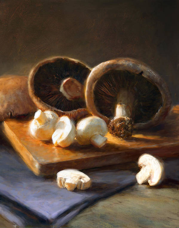 Mushrooms Poster featuring the painting Mushrooms by Robert Papp