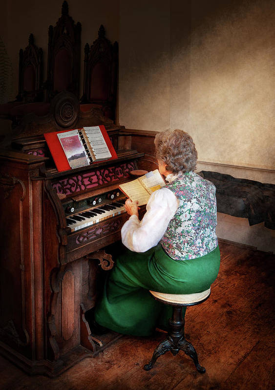 Hdr Poster featuring the photograph Music - Organist - The Lord Is My Shepherd by Mike Savad