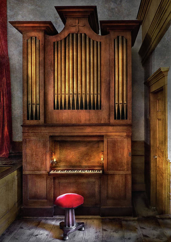 Hdr Poster featuring the photograph Music - Organist - What A Big Organ You Have by Mike Savad