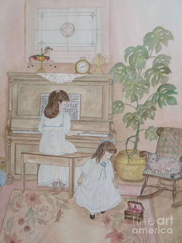 Sisters Poster featuring the painting Music Box Dancer by Patti Lennox