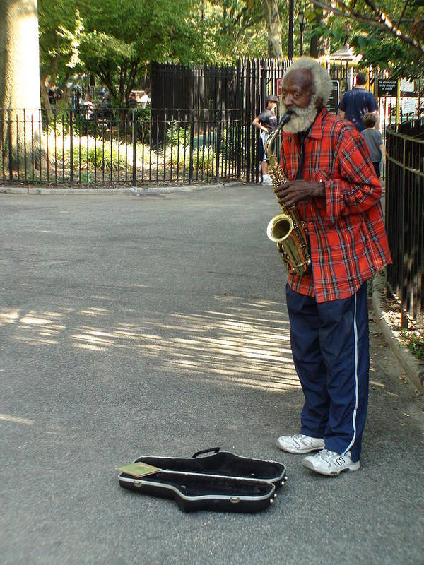 Graffiti Poster featuring the photograph Music In Tompkins Square by Joseph Cusano IV