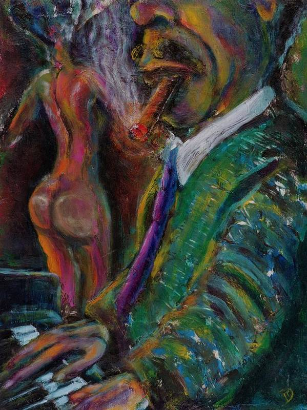 Man Poster featuring the painting Music Lover And A Fine Cigar by Dennis Tawes