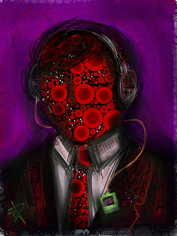 Abstract Poster featuring the digital art Music Lover by Russell Pierce