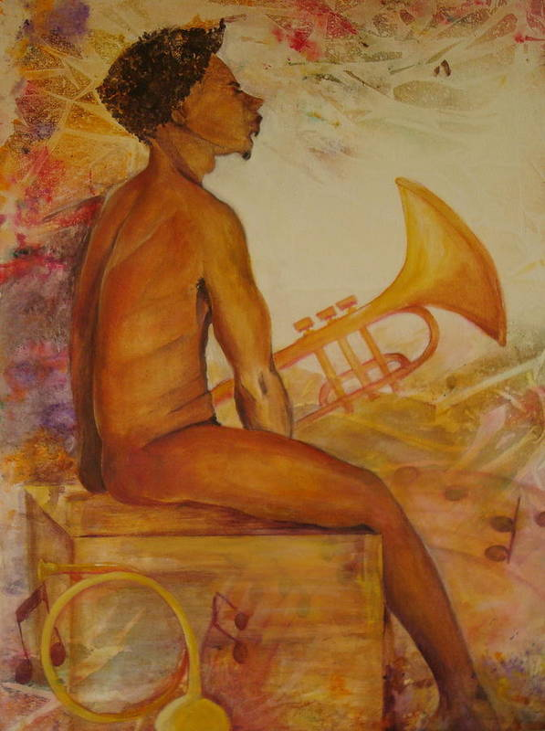 Painting Of An Attractive Black Man Seated With His Horn. Whimsical Background. Hues Of Golds Poster featuring the painting Music Man by Georgia Annwell