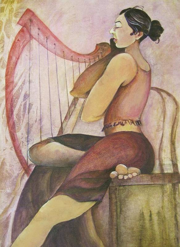 Painting Depicts A Gorgeous Woman Seated At Her Harp. Hues Of Pinks Poster featuring the painting Music Woman by Georgia Annwell