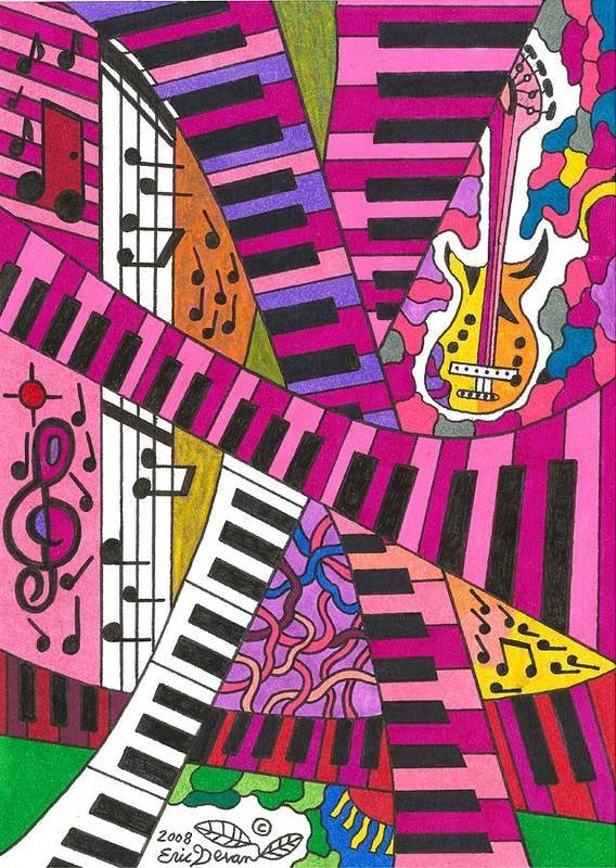 Musical Poster featuring the drawing Musical Wonderland by Eric Devan