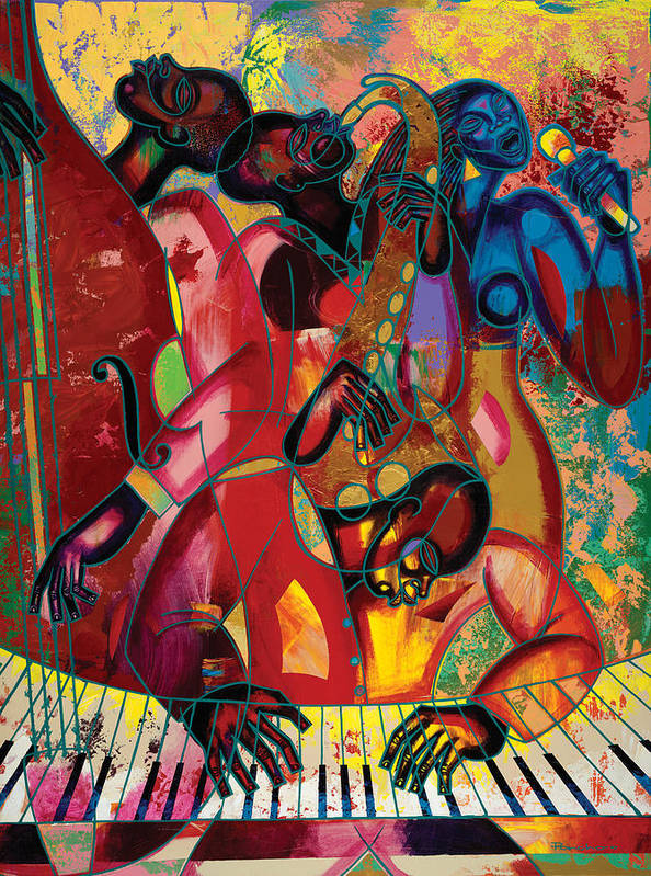 Figurative Poster featuring the painting Musicfest by Larry Poncho Brown