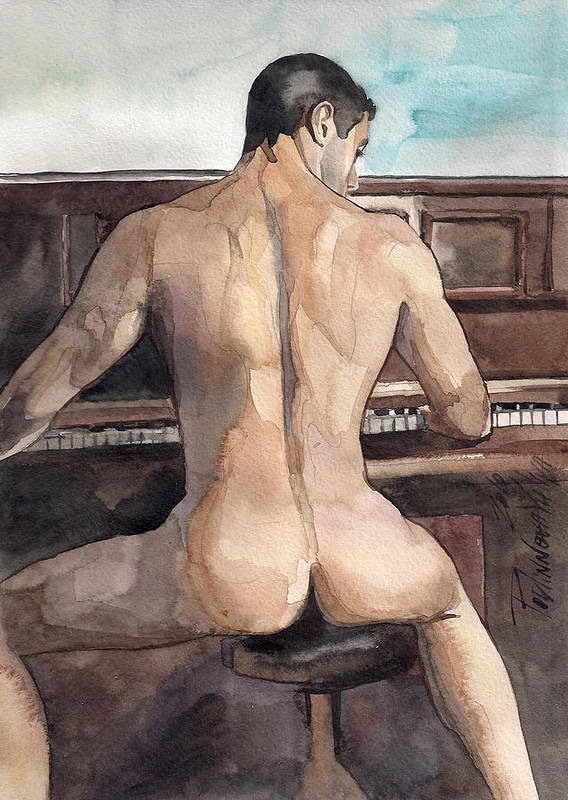 Nude Male Erotic Sexy Man Watercolor On Paper Painting Artwork Poster featuring the painting Musician by Yuliya Podlinnova