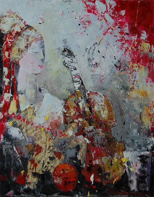 Figurative Poster featuring the painting Musicians Break by Sari Haapaniemi