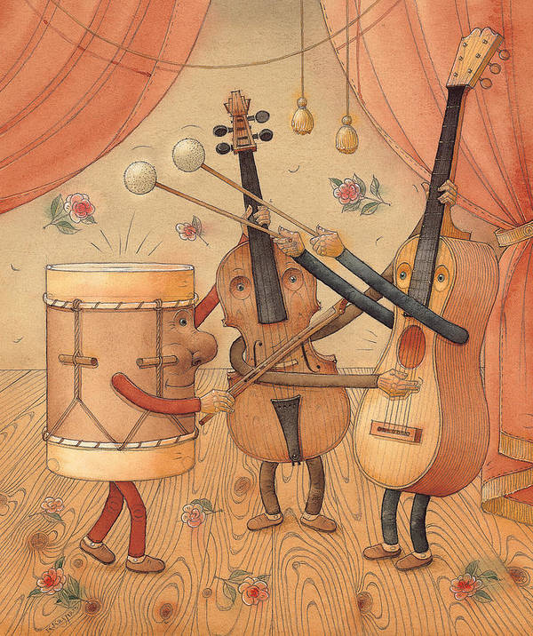 Music Instruments Guitar Violin Drums Concert Poster featuring the painting Musicians by Kestutis Kasparavicius
