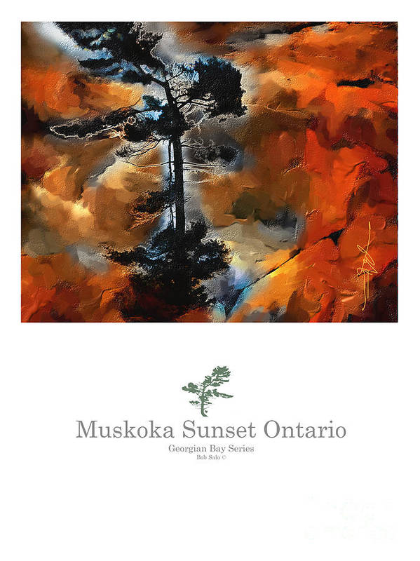 Impressionism Poster featuring the painting Muskoka Autumn Sunset Northern Ontario Poster Series by Bob Salo
