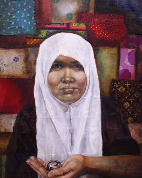 Muslim Poster featuring the painting Muslim Woman by Ixchel Amor
