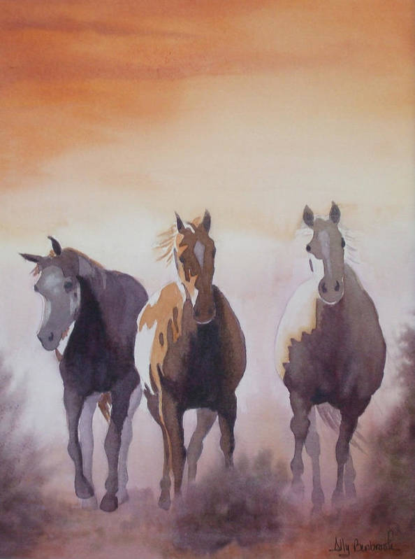 Horse Poster featuring the painting Mustangs Out Of The Fire by Ally Benbrook