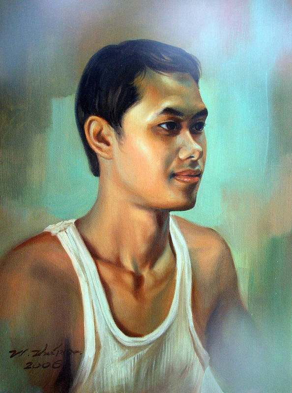 Thai Poster featuring the painting My Brother by Chonkhet Phanwichien