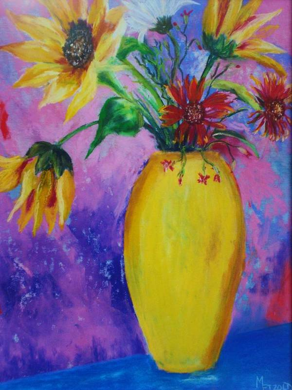 Sunflowers Poster featuring the painting My Flowers by Melinda Etzold